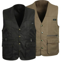 Vest / vest other Others go to work easy Vest routine Four seasons V-neck middle age 2017 Basic public Solid color Single breasted Cloth hem No iron treatment Multiple pockets Brocade cotton Three dimensional bag
