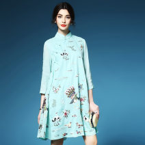 Dress Autumn of 2019 Light green, red S,M,L,XL,2XL,3XL Mid length dress singleton  elbow sleeve commute stand collar Loose waist Animal design other A-line skirt other Others 30-34 years old Type A ethnic style Embroidery, three-dimensional decoration, button, 3D More than 95% other hemp
