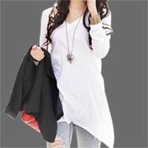 T-shirt White, light grey, black S,M,L,XL Spring of 2018 Long sleeves V-neck easy Medium length routine commute cotton 96% and above 18-24 years old Korean version originality Solid color Phoenix egger A098 Asymmetry, swallow tail