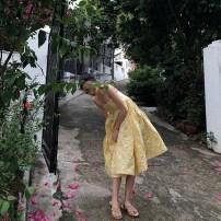 Dress Summer of 2018 yellow XS S M Mid length dress singleton  Sleeveless commute One word collar Socket camisole Type A lady