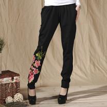 Casual pants black M,L,XL,2XL,3XL,4XL Autumn 2014 Haren pants Natural waist commute routine 96% and above JH51367 nothing cotton Retro Embroidery