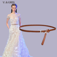 Belt / belt / chain top layer leather female belt Versatile Single loop Youth, middle age Pin buckle Glossy surface Glossy surface 1cm alloy V.&GRIN