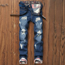 Jeans Youth fashion Muuro / muao Twenty-eight Blue 18 routine No bullet Regular denim MTS16 Cotton 75.8% polyester 24.2% Fall 2017 Pure e-commerce (online only)