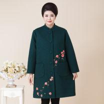 Middle aged and old women's wear Autumn 2016 fashion Windbreaker easy singleton  Cardigan moderate Medium length