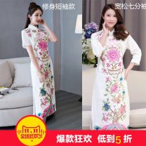 cheongsam Autumn of 2019 XXL【135-145】,XXXL【145-155】,4XL【155-170】,M【105-115】,L【115-125】,XL【125-135】 White, rose red, red, Navy, white [thin short sleeves], rose red [thin short sleeves], Navy [thin short sleeves] Long sleeves long cheongsam Retro High slit daily Oblique lapel Decor Embroidery cotton