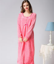 Home skirt Princess House Pink L weight 120 ~ 140 kg, m weight 90 ~ 120 kg, XL weight 140 ~ 180 kg Long sleeves winter Crew neck thickening Princess lace double-breasted Dot velvet Coral velvet rubber string trousers