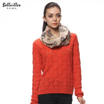 Wool knitwear Autumn 2015 M L 56 - orange red Long sleeves singleton  Socket acrylic fibres 30% and below Regular routine commute easy Low crew neck routine other Socket Simplicity BZA3H3000 25-29 years old Bellville / bellavera Gouhua hollow Polyester 45.7% pan 27.7% polyamide 16.2% wool 10.4%