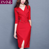 Dress Autumn 2020 Black, red M,L,XL,2XL,3XL other three quarter sleeve commute other middle-waisted other other A-line skirt routine Others Other / other Ol style 30% and below other other