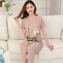 Pajamas / housewear set female Other / other 4XL [suitable for 140-160 kg], 3XL [suitable for 120-140 kg], XXL [suitable for 100-120 kg], XL [suitable for 80-100 kg], thin cotton and hemp, breathable and cool other Short sleeve Simplicity Leisure home summer routine Crew neck other Cropped Trousers