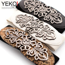 Belt / belt / chain Pu (artificial leather) White red Leopard Black female Waistband Versatile Single loop Youth, middle age a hook other soft surface