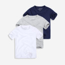 T-shirt White, grey, navy Other / other male spring and autumn Short sleeve Crew neck Europe and America No model cotton Solid color Cotton 95% polyester 5%