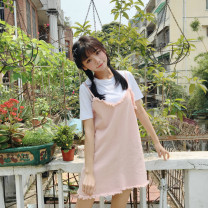 Dress Summer 2017 Yellow, pink, support prestige payment zm875511309 Average size Short skirt Two piece set Short sleeve commute Crew neck Loose waist Solid color Socket Irregular skirt routine camisole 18-24 years old Type A Asymmetry 30% and below other other