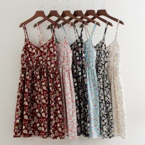 Dress Summer of 2018 White flowers with black background, white flowers on the ground, dark blue flowers, small blue orchids, pale blue flowers, red flowers. Average size Short skirt singleton  Sweet V-neck High waist Broken flowers Socket A-line skirt camisole 18-24 years old Type A Other / other