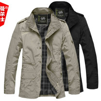 Jacket Manus Fashion City Black, khaki, black with cotton, khaki with cotton M. L, XL, 2XL, 3XL, 4XL thin under 220 kg, 5XL thin under 250 kg, [thin size is bigger] thin easy Other leisure spring Long sleeves Wear out stand collar Basic public Large size Medium length Zipper placket 2021 Straight hem