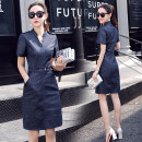Dress Summer 2017 Picture color S,M,L,XL,2XL,3XL Mid length dress singleton  Short sleeve commute V-neck High waist Solid color Socket A-line skirt routine Others Type A Other / other Korean version pocket 91% (inclusive) - 95% (inclusive) Denim other