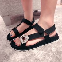 Sandals 34 35 36 37 38 39 40 black Other / other cloth Barefoot Flat bottom Low heel (1-3cm) Spring of 2018 Velcro Europe and America Solid color Adhesive shoes Youth (18-40 years old) Rubber foaming daily Front and rear trip strap Buckle drill Low Gang Lateral space cloth Microfiber skin Fifty-four