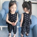 suit Other / other black female summer leisure time Sleeveless + pants 2 pieces Thin money There are models in the real shooting Socket nothing Dot