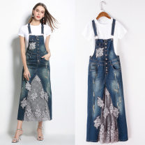 Dress Summer 2020 S,M,L,XL,2XL longuette Two piece set middle-waisted Broken flowers Single breasted One pace skirt camisole Lace, stitching 81% (inclusive) - 90% (inclusive) other cotton