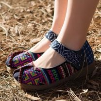 High shoes cloth cloth Middle heel (3-5cm) Flat bottom Round head Other / other Summer of 2019 Velcro ethnic style TPR (tendon) Color matching cloth