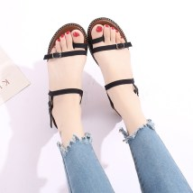 Sandals 35 36 37 38 39 Khaki Green Black Other / other PU Pinch toe Slope heel Middle heel (3-5cm) Summer of 2018 Flat buckle Korean version Solid color Adhesive shoes Youth (18-40 years old) rubber daily Back space Buckle shallow slope with waterproof platform Low Gang Lateral space PU PU Frosting