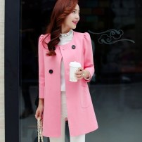 Windbreaker Autumn 2015 XL,L,M,S Pink Long sleeves routine Medium length commute double-breasted Crew neck puff sleeve Solid color Straight cylinder Korean version Bestbao / bestbao 25-29 years old 51% (inclusive) - 70% (inclusive) cotton polyester fiber