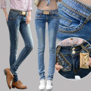 Jeans Winter 2011 25,26,27,28,29,30,31,32 trousers low-waisted Pencil pants routine 18-24 years old Old button, wash, wash, make zipper Cotton elastic denim light colour Royal Highness Princess