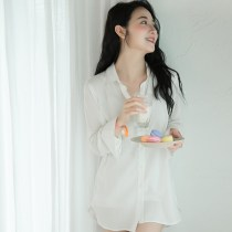 Nightdress Other / other white S code 155-160 high 90-100 M code 160-165 high 100-110 l code 165-170 high 110-120 sexy Long sleeves pajamas summer