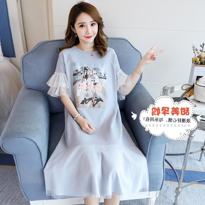 Dress Other / other Pink, blue, white XL,L,M,XXL,XXXL Korean version Short sleeve Medium length summer Crew neck character