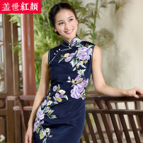cheongsam Autumn 2016 S ml XL XXL private customization / contact customer service From 134cm in length to 129cm in length Sleeveless long cheongsam Retro High slit wedding Semicircle lapel Big flower Embroidery Colorful Beauty of the world silk Mulberry silk 100%