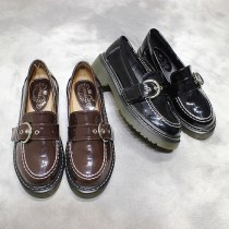 Low top shoes Size 35 36 37 38 39 Other / other Black Brown Round head Muffin bottom PU Midmouth Middle heel (3-5cm) PU Spring 2017 Trochanter college Adhesive shoes Youth (18-40 years old) Solid color TPR (tendon) Shoe of sponge cake Muffin and metal belt buckle of waterproof table Two layer pigskin