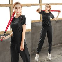 Women's large Summer 2017 Large L, large XL, 2XL, 3XL, 4XL Two piece set commute easy moderate Socket Short sleeve Solid color Korean version Crew neck routine polyester Three dimensional cutting routine Solabe / solabe 25-29 years old trousers