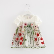 Dress White pink momoidea female (tag 74) (tag 80) (tag 86) (tag 92) (tag 98) Cotton 95% polyurethane elastic fiber (spandex) 5% summer Korean version Short sleeve Broken flowers cotton A-line skirt seventy-three thousand two hundred and ten Class A