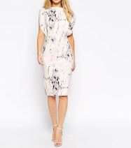 Dress Spring 2021 Beige printing Mid length dress singleton  Sleeveless commute One word collar High waist other zipper Pencil skirt Others Britain printing other polyester fiber