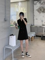 Dress Summer 2021 black S,M,L,XL Mid length dress singleton  Long sleeves commute Doll Collar lattice Single breasted other puff sleeve Others 25-29 years old Button, pocket 71% (inclusive) - 80% (inclusive) other