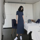 Dress Summer 2020 Khaki, Navy, black S,M,L,XL longuette singleton  Short sleeve commute Crew neck Loose waist Solid color A-line skirt routine Others 30-34 years old Type H Laifengniao JJ-201 31% (inclusive) - 50% (inclusive) knitting cotton