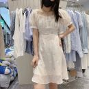 Dress Summer 2021 white S,M,L Mid length dress singleton  Short sleeve street square neck High waist Solid color Socket A-line skirt routine Hanging neck style 25-29 years old Type A Splicing 31% (inclusive) - 50% (inclusive) Chiffon polyester fiber Europe and America