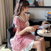 Dress Autumn 2020 Yuanqihong collection store gives priority M [90-105 kg], XL [120-135 kg], s [within 90 kg], l [105-120 kg] Short skirt singleton  Short sleeve he bow 30% and below