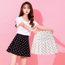 skirt Summer of 2019 S,M,XXL,L,XL Apricot, black, collection plus cart priority Short skirt commute High waist Pleated skirt Dot Type A 25-29 years old GT940736-7709 SMSD / Shenma Era other fold