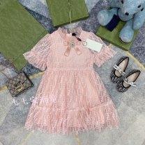 Dress Pink female 100cm,110cm,120cm,130cm,140cm,150cm Cotton 100% summer leisure time printing cotton Lotus leaf edge Class A 7 years old, 8 years old, 12 months old, 3 years old, 6 years old, 18 months old, 2 years old, 11 years old, 5 years old, 4 years old, 10 years old, 9 years old