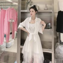 Dress Summer 2021 white S,M,L longuette Two piece set Long sleeves commute square neck Loose waist Solid color Socket Big swing routine Hanging neck style 25-29 years old Type A Korean version Lace, lace, button, mesh, lace 91% (inclusive) - 95% (inclusive) Chiffon polyester fiber