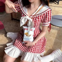 Dress Summer 2021 Pink S,M,L,XL Short skirt singleton  Short sleeve Sweet Admiral High waist lattice Socket Ruffle Skirt routine 18-24 years old Type A Lace up, fold, zipper, bow, ruffle, strap, stitching 30% and below other college