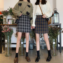 skirt Spring 2020 S,M,XS,XXL,L,XL Blue check with safety pants, black and white check with safety pants, yellow check with safety pants, light fruit green check with safety pants Short skirt High waist A-line skirt Other / other bow