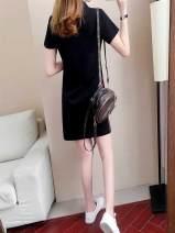 Women's large Summer of 2019 White 1201, black 1068, black 1201, white 1595, black 1595, white 1068 3xl160-180kg, 2xl140-160kg, collect and buy free freight insurance, 4xl180-200kg, m100-110kg, s90-100kg, xl120-140kg, l110-120kg Dress singleton  commute easy moderate Socket Short sleeve stripe pocket