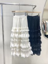 skirt Spring 2021 Average size Black, white longuette commute Natural waist A-line skirt Dot Type A 25-29 years old 31% (inclusive) - 50% (inclusive) cotton Stitching, folding