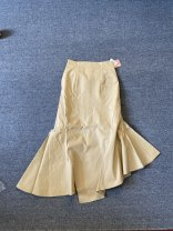 skirt Spring 2021 S khaki longuette commute High waist Irregular Solid color Type A 25-29 years old polyester fiber Lotus leaf edge