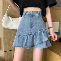 skirt Spring 2021 S,M,XXL,L,XL wathet Short skirt commute High waist Ruffle Skirt Solid color Type A 18-24 years old Denim