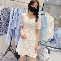 Dress Summer 2021 white S,M,L Short skirt singleton  Short sleeve commute V-neck High waist Solid color Socket A-line skirt routine Hanging neck style 25-29 years old Type A Korean version Lace Lace polyester fiber