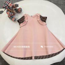 Dress pink dress  female Other / other 90cm,100cm,110cm,120cm,130cm,140cm,150cm,160cm Cotton 100% spring and autumn Korean version Skirt / vest Solid color cotton A-line skirt Three, four, five, six, seven, eight, nine, ten