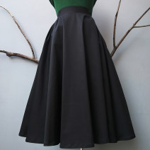 skirt Spring 2021 black longuette commute High waist Little black dress Solid color Type A 25-29 years old other cotton 201g / m ^ 2 (including) - 250G / m ^ 2 (including)