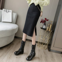 skirt Autumn 2020 L large for 115135 , XL Plus for weight 1351 , M medium for weight 105115 , S small is suitable for weighing 85105 kg Light grey , coffee , Ginger  , black , lilac colour , Huqing , Dark green , Light apricot , Pink longuette commute High waist skirt Solid color Type H knitting